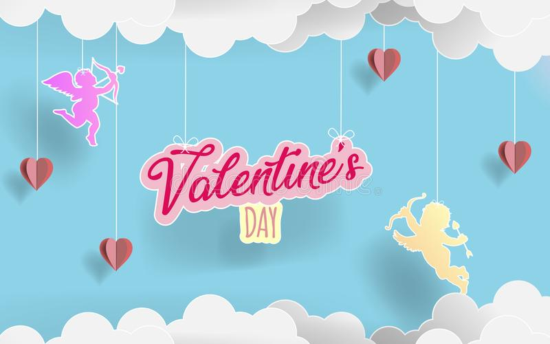 Paper art alentine`s day. Love angels flying between origami paper clouds and hearts in candy background. illustration stock illustration