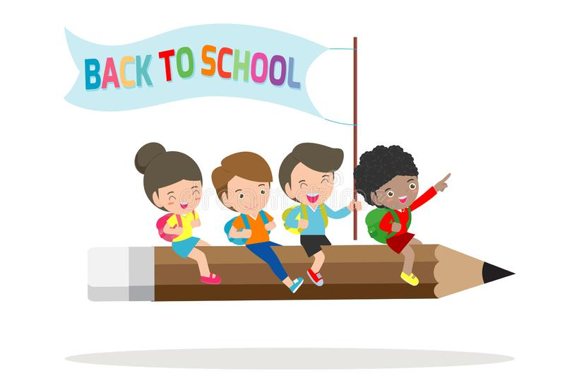 Paper art of Back to school, Children flying on pencil, education concept vector illustration isolated on white background. stock illustration