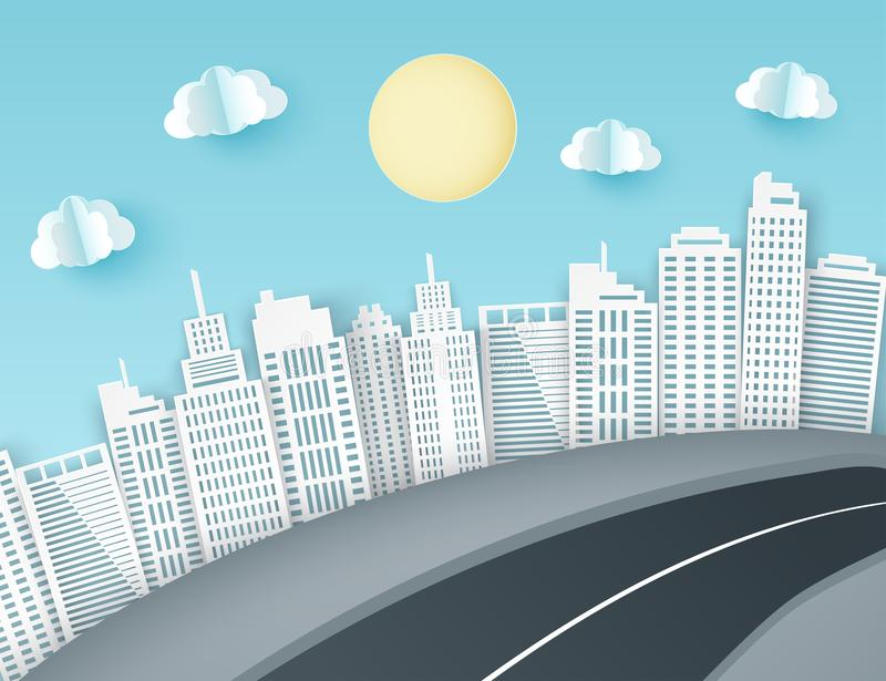 Paper art background with city view. Fluffy paper clouds, road,. Scyscrapers. Trendy origami paper cut style. Vector illustration vector illustration