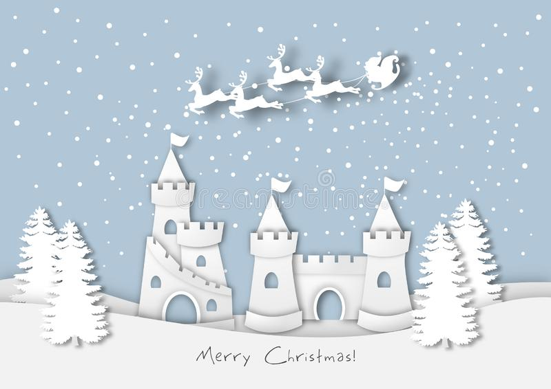 Paper art of the big castle in winter season, santa claus in sky background,Christmas,Festival,vector royalty free illustration