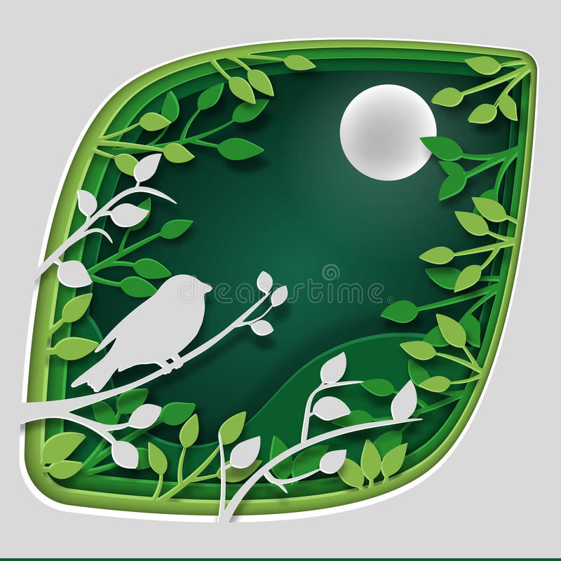 Paper art carve to bird on tree branch in forest at night, origami concept nature and animals idea, vector art and. Paper art carve to bird on tree branch in royalty free illustration
