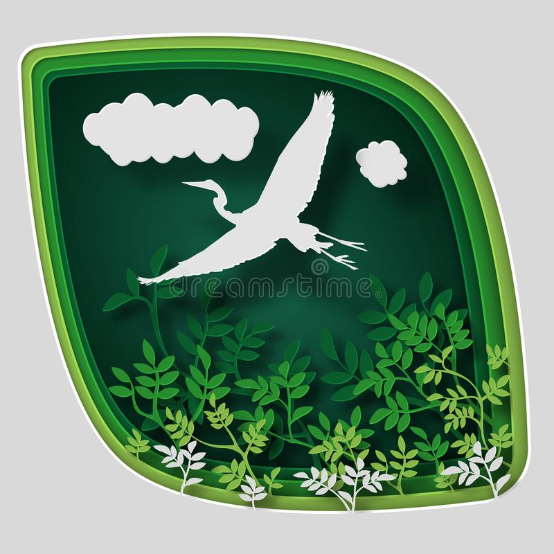 Paper art carve to bird on tree branch in forest at night, origami concept nature and animals idea, vector art and. Paper art carve to bird on tree branch in vector illustration