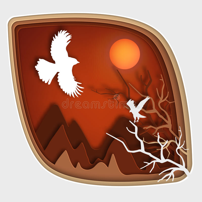 Paper art carve to bird on tree branch in forest at night, origami concept nature. Paper art carve to bird on tree branch in forest at night vector art and stock illustration