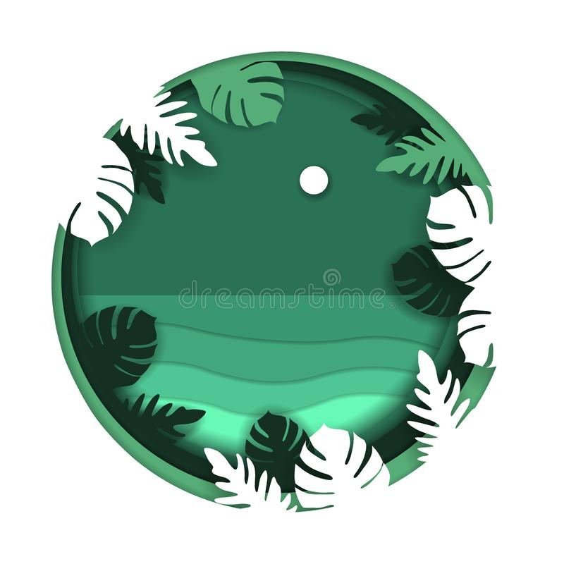 Paper art carve to sea beach in night time, with moon, with frame of monstera leaves and other exotic plants branches in tropical royalty free illustration