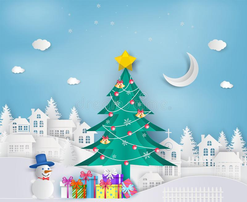 Paper art of christmas tree in the city and snowman with gift bo. Xes. Merry Christmas and Happy New Year royalty free illustration