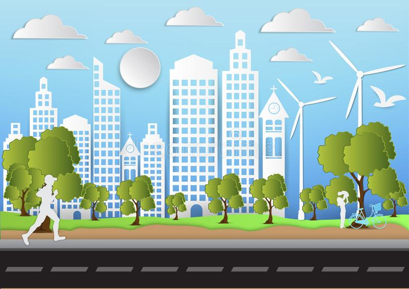 Paper art of city and park on green background with man is running. ecology idea, vector illustration vector illustration