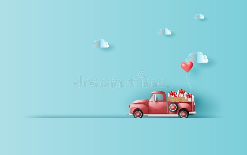 Paper art and craft of Illustration travel in holiday with red classic pickup truck car,Vintage pickup truck by Balloon gift box royalty free illustration