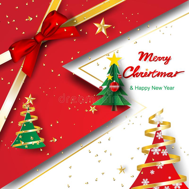 Paper art and craft of Merry Christmas and Happy new year templa royalty free illustration
