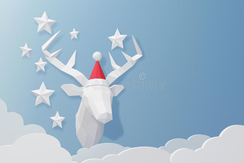 Paper art and craft style of Deer head wearing Santa hat model with copy space, 3D rendering design. stock illustration