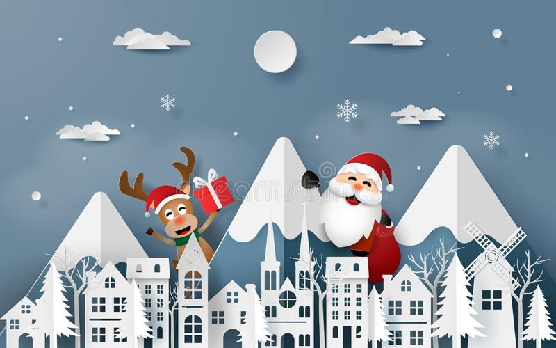 Paper art, Craft style of Santa Claus and Reindeer coming to town stock illustration