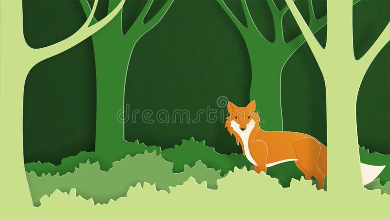Paper art craft wild fox in the forest. Vector illustration in paper cut style. Design for wallpaper, backdrop, cover, template, stock illustration