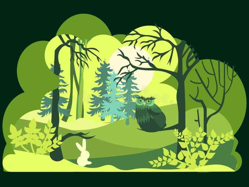 Paper art, cut and craft style of Green forest wildlife with nature background layers. Wild animals and birds. Vector royalty free illustration
