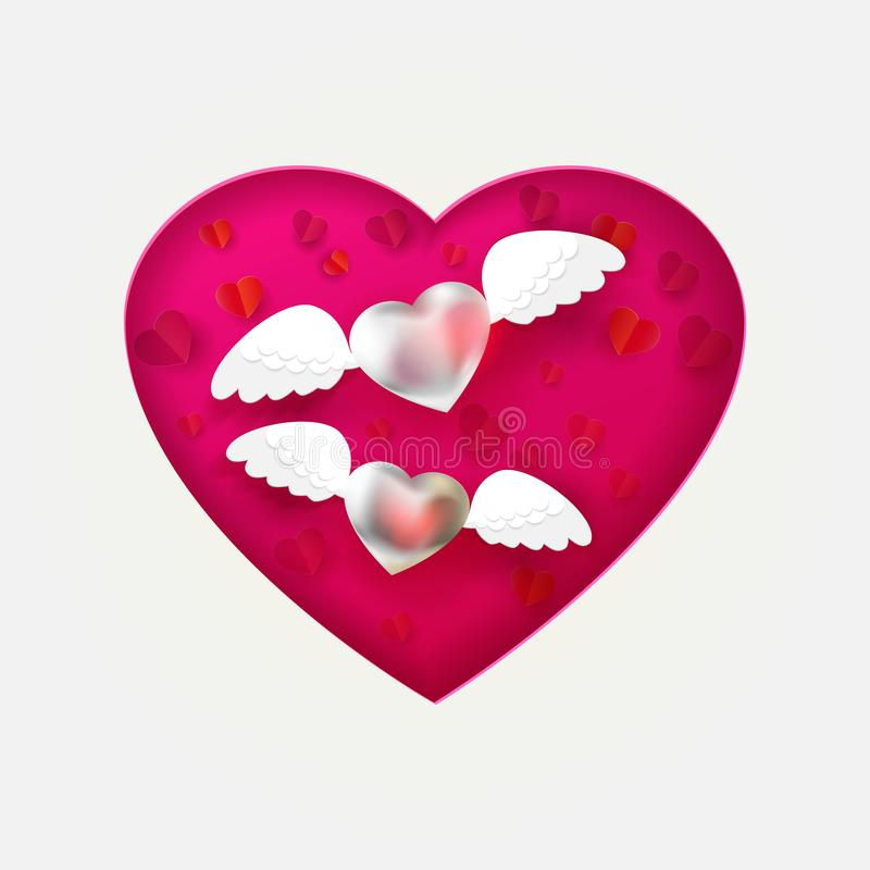 Copuple of hearts with angel wings card vector illustration