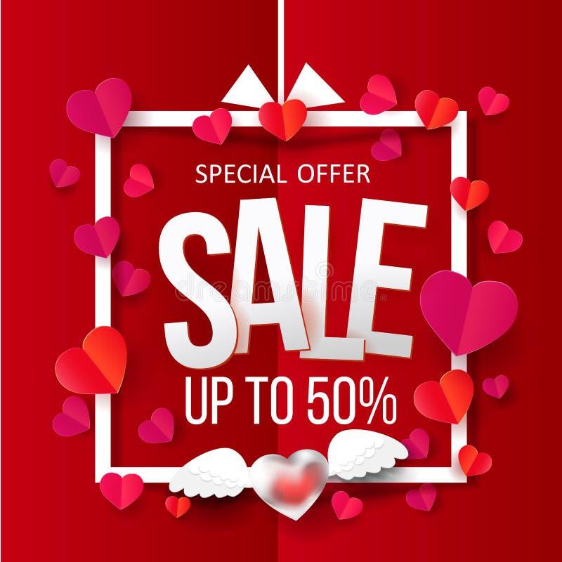 Paper hearts in Sale frame stock illustration