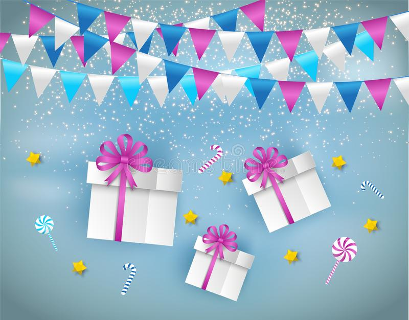 Paper art of decorated gift boxes and candy floating on the sky. Merry Christmas and Happy New Year vector illustration