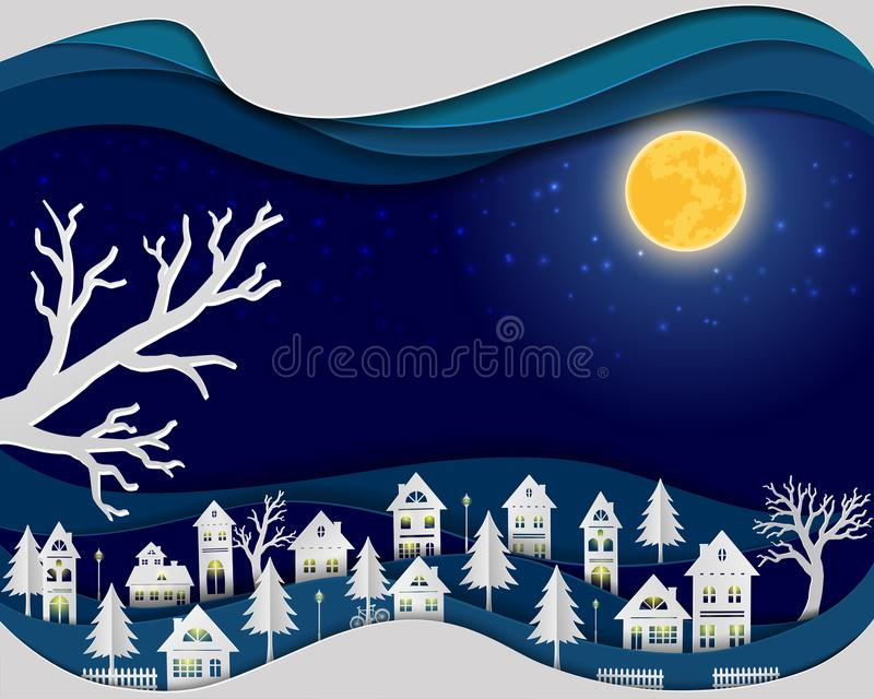 Paper art design of urban countryside landscape in night scene background stock illustration