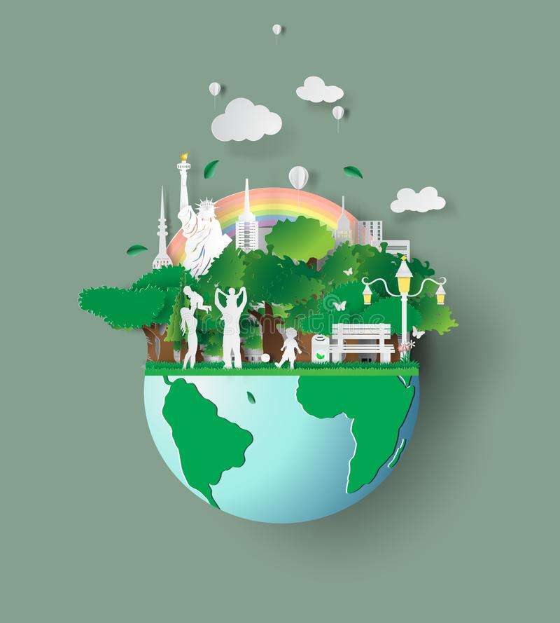 Paper art of eco friendly family concept and earth with environment day.Saving the world environment with family. Children are. Playing in the grass park stock illustration