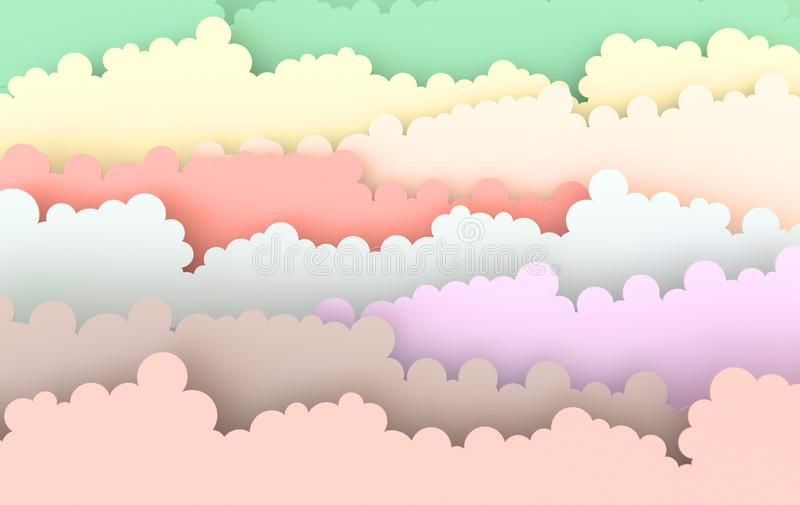 Paper art fluffy clouds. Modern 3d origami paper art style. 3d render illustration. In pastel colors vector illustration
