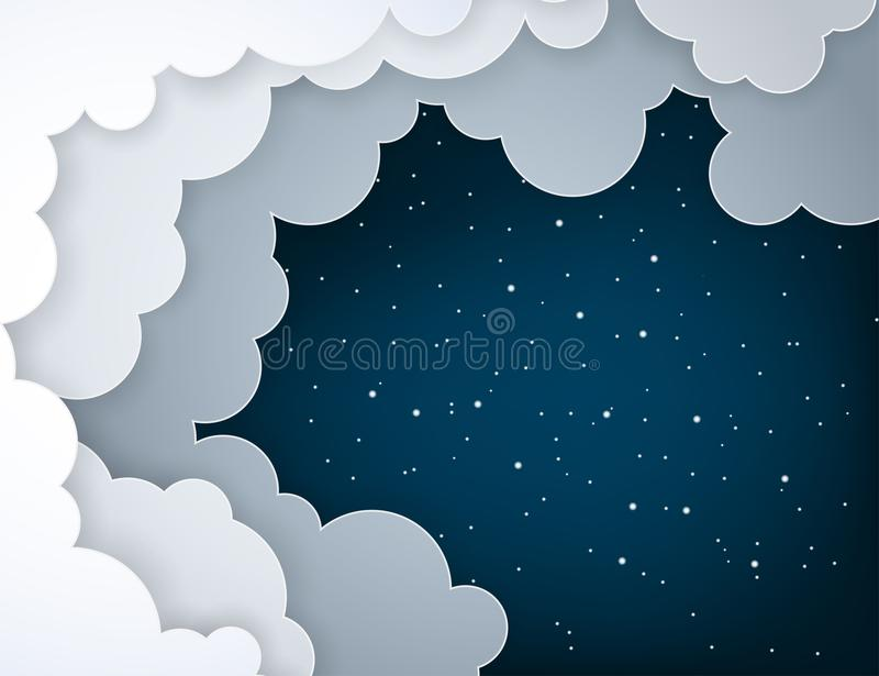Paper art fluffy clouds and shining stars in midnight. Modern 3d origami paper art style. Vector illustration, dark night sky royalty free illustration
