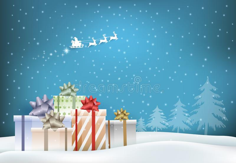 Paper art of gift boxes and Santa claus in snowy. Merry Christmas, Happy New Year for background illustration stock illustration