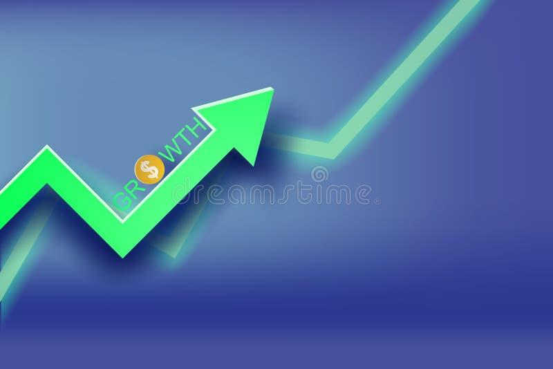 Paper art of Graph economic growth concept idea royalty free illustration