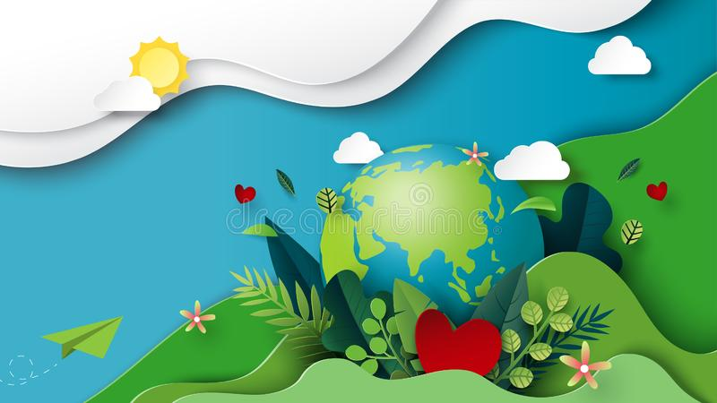 Paper art of green environment and earth day concept stock illustration