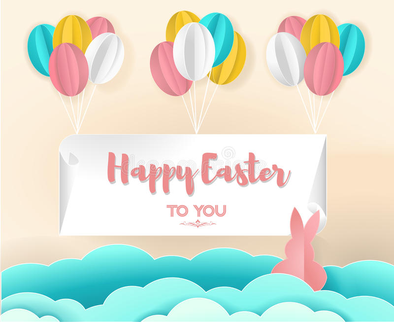 Paper art of Happy Easter hanging with colorful balloon, vector art, illustration and origami. vector illustration