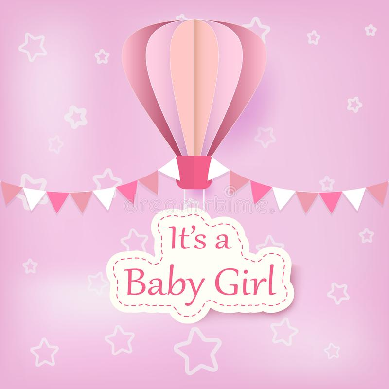 Paper art of hot air balloon with baby girl text shower card pap stock illustration