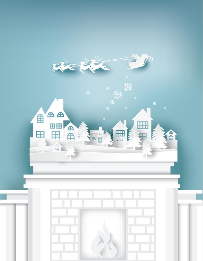 Paper art landscape of Christmas with tree and house design. Vector illustration royalty free illustration