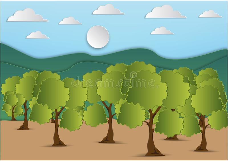 Paper art of mountain and tree with green leaf and the sky with clouds background,vector illustration stock illustration