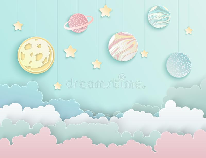 Paper art origami abstract concept with stars, planets. Paper art origami abstract concept with stars, fluffy clouds, full moon, different planets of solar vector illustration