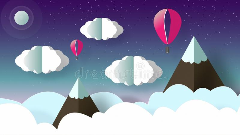 Beautiful landscape of mountains with snow, clouds and flying balloon. Sky with a lot of stars at night royalty free illustration