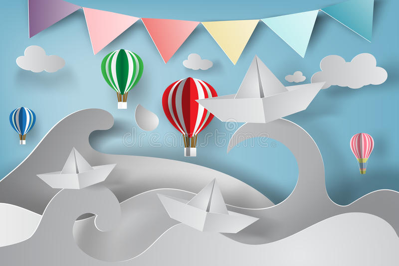 paper art of origami made sailing boat vector illustration