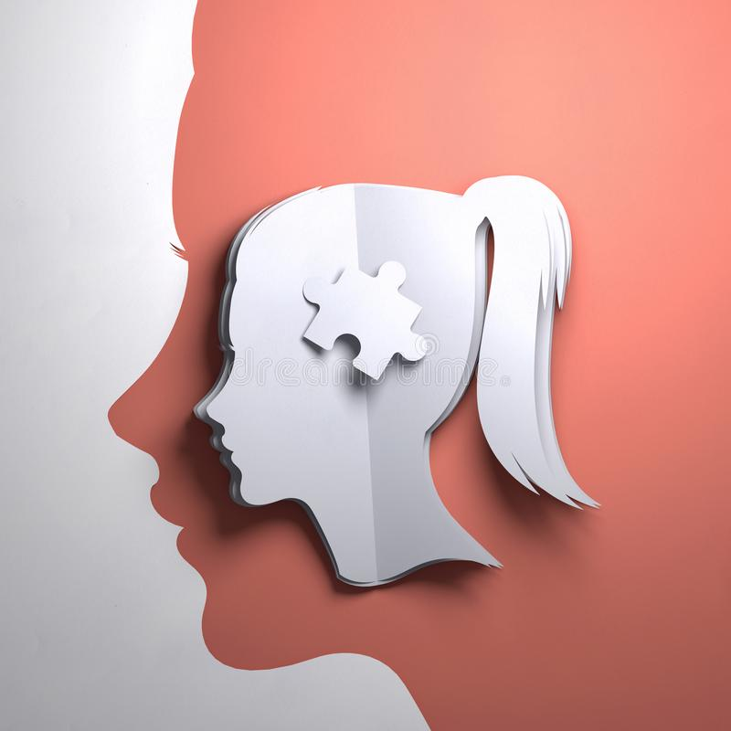 Paper Art Origami- Mindfulness. Folded Paper art origami. A silhouette of a womens head with a puzzle piece. Conceptual mindfulness 3D illustration stock illustration