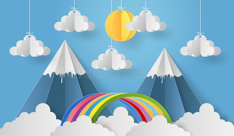 Paper art of mobile paper sun and cloud with mountain and rainbow on blue sky backgrond. Paper art of origami mobile paper sun and cloud with mountain and royalty free illustration