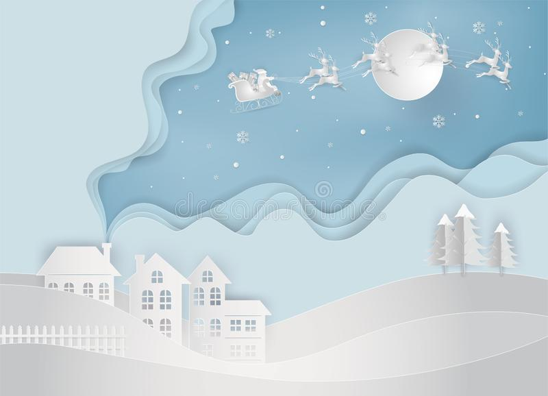 Paper art of santa claus is coming to countryside. Merry Christmas and Happy New Year. greeting card concept. royalty free illustration