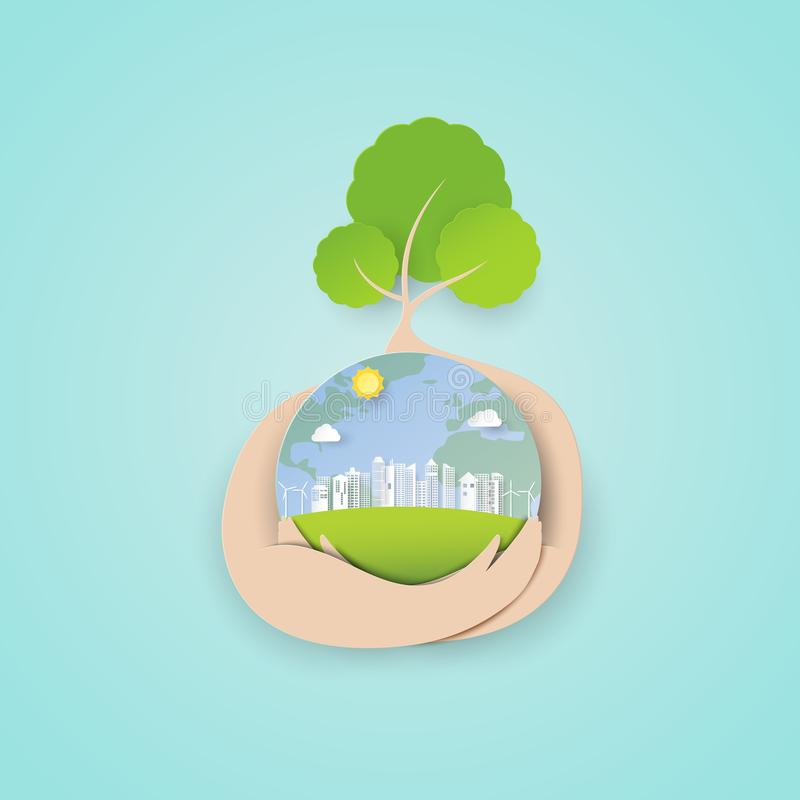Paper art of save the world concept with tree and eco green city background royalty free illustration