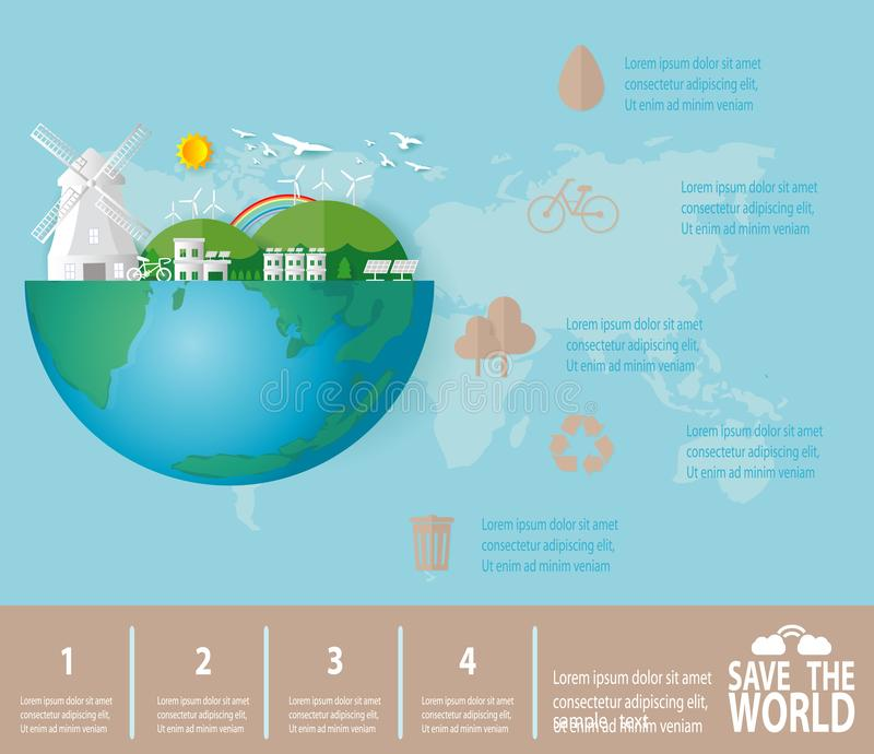 Paper art of Save the world infographics, save planet, Earth Day,recycling,  Eco friendly, ecology concept, isolated stock illustration