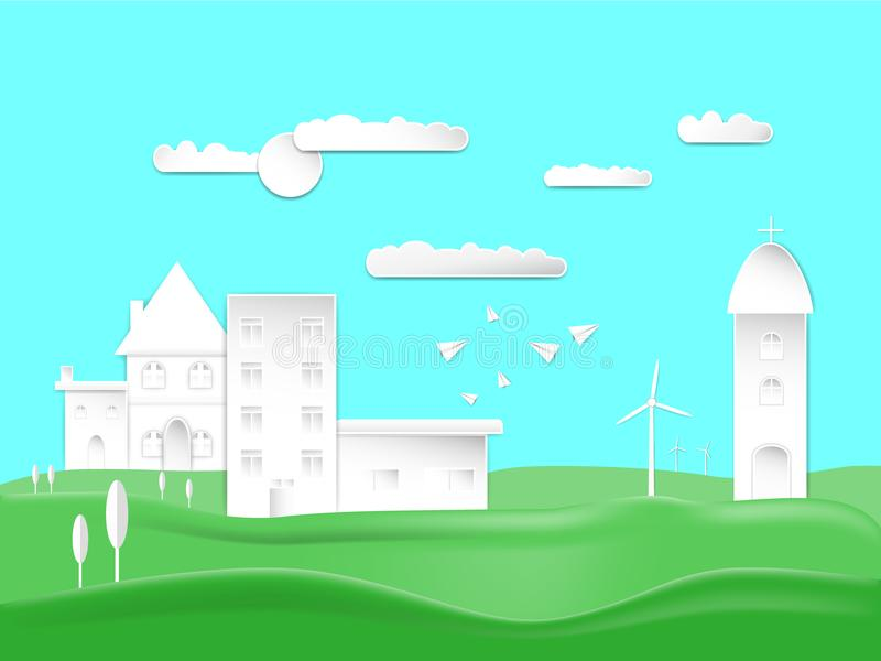 Paper art style design city town and house countryside on Green lawn with carton airplanes sun in sky cloud background. concept ve. Paper art style design city royalty free illustration