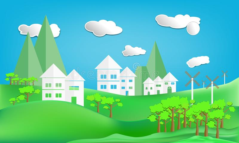 paper art style design house white city town and turbine mountain countryside woodland on Green lawn with sun in sky cloud vector illustration