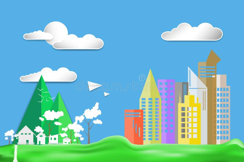 Paper art style flat design color city town house landscape countryside on Green lawn with airplane and sun in blue sky big cloud stock illustration