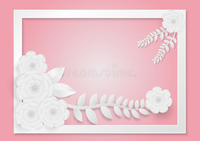Paper art style of flowers with vines on a white frame and pink background. vector illustration vector illustration