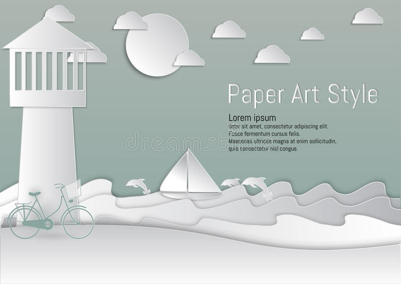 Paper Art Style. lighthouse and Sea with sailboat and Dolphin. vector illustration vector illustration