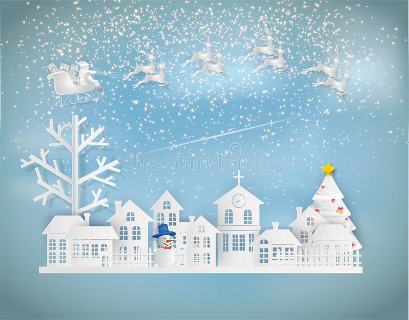 Paper art style of Merry Christmas and Happy New Year. Santa Claus on the sky coming to City. with winter landscape and stars is. Glitter in the sky royalty free illustration