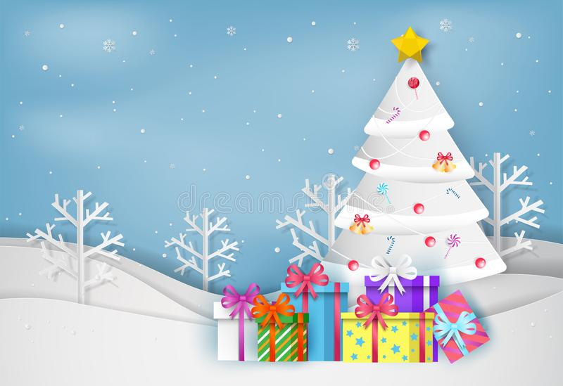 Paper art style of Merry Christmas and Happy New Year. christmas. Tree and colorful gift box in winter with landscape background stock illustration