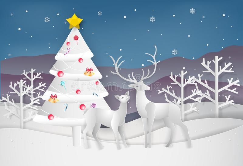 Paper art style of Merry Christmas and Happy New Year. christmas. Tree and reindeer in winter with landscape background vector illustration