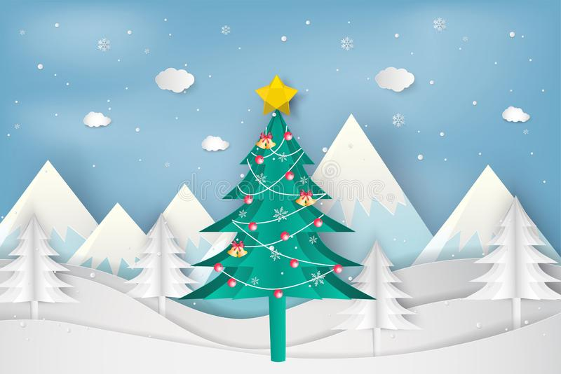 Paper art style of Merry Christmas and Happy New Year. christmas. Tree in winter with landscape background vector illustration
