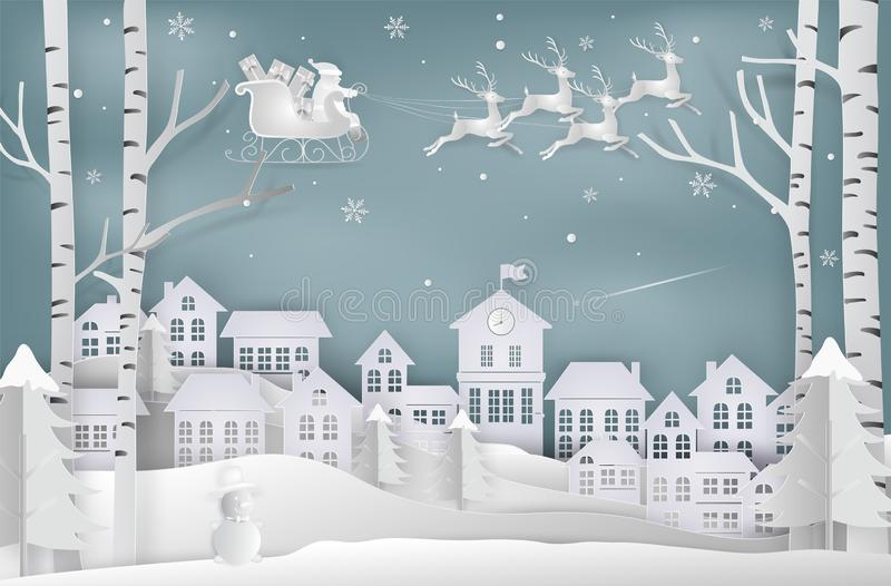 Paper art style of Merry christmas and New Year. Illustration of. Santa claus is coming to city. Winter snow. minimal greeting card concept royalty free illustration