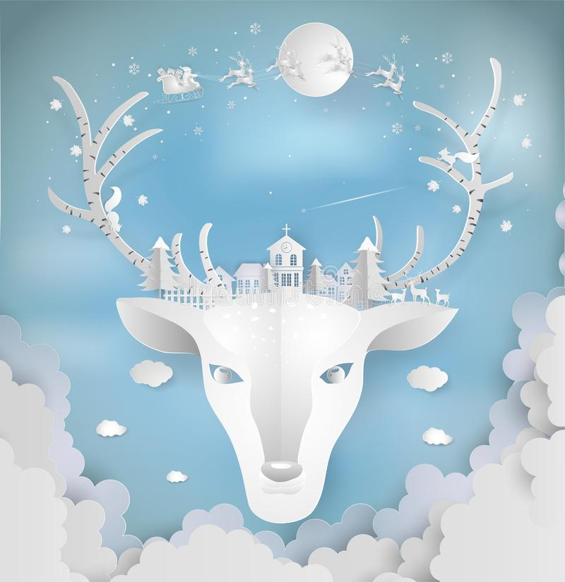 Paper art style of Merry christmas and New Year. Illustration of. Deer and antler with city winter landscape with snowflakes, light, stars. minimal greeting royalty free illustration