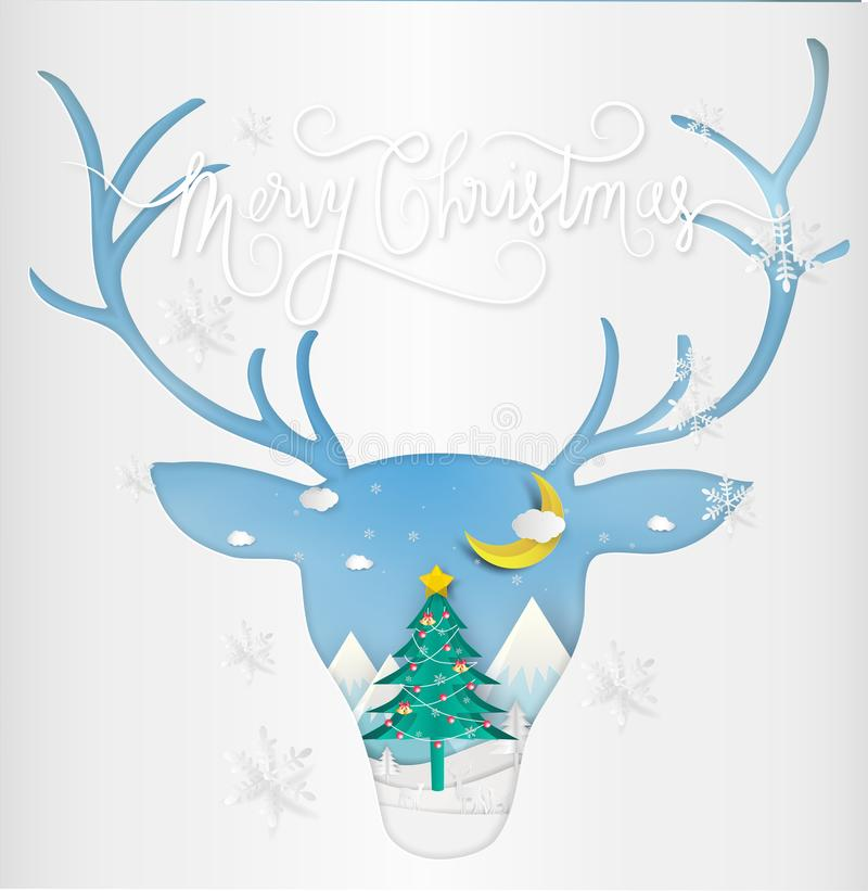 Paper art style of Merry christmas and New Year. Illustration of. Deer and antler winter landscape and Christmas Tree. greeting card concept vector illustration